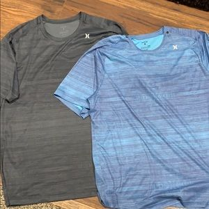 Two men's Hurley dri fit shirts